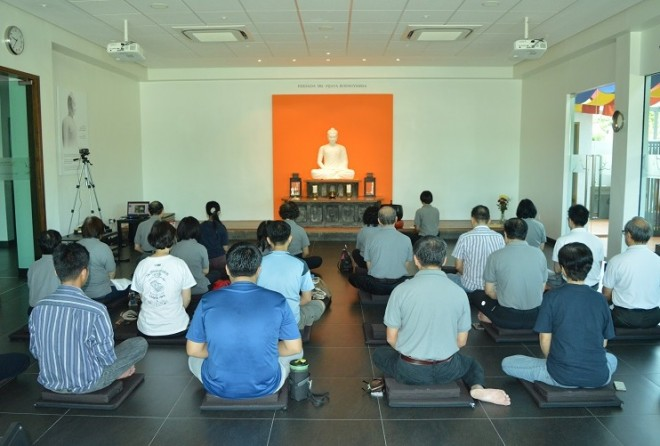 Saturday morning service starts with meditation.