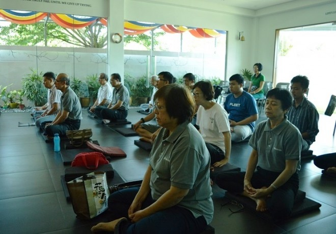 Group meditation practice.