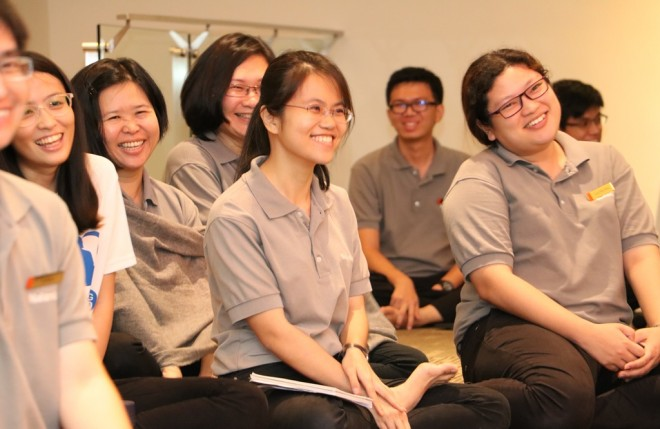 Participants feeling much joy in learning Dhamma together.
