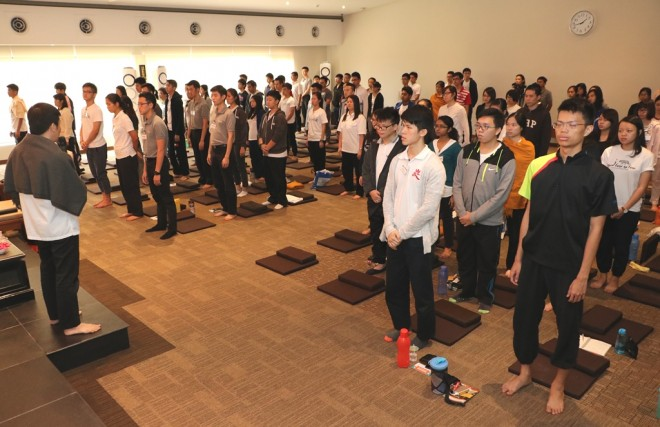 Participants get to try out the different postures in meditation.