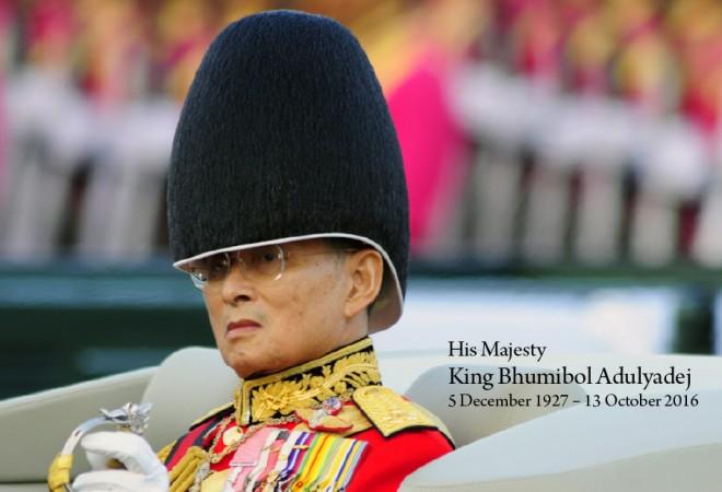 King Bhumibol Adulyadej, 1927 - 2016.