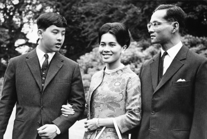 King Bhumibol, Queen Sirikit, and Crown Prince Maha Vajiralongkorn.