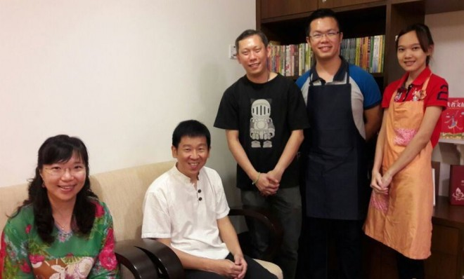 Staff and crew of the Book Café welcoming Bro. Tan on his visit.