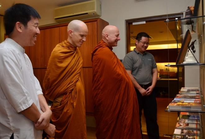 The venerables were brought on a tour of Nalanda Centre.
