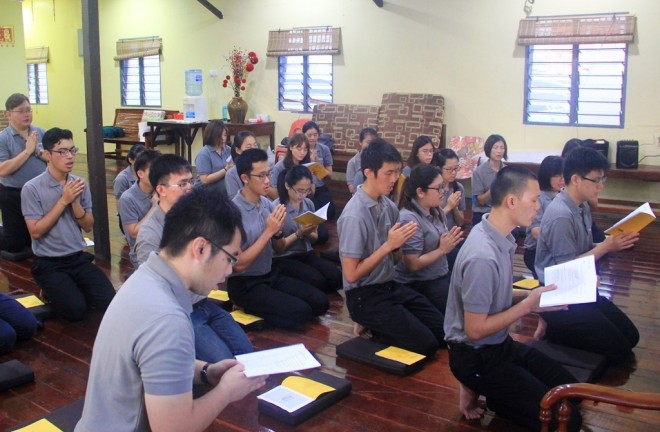 Chanting, meditation, and reflection are part of the daily practice for Nalandians.