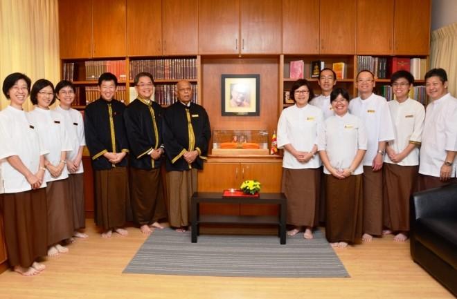 "Senior Nalandian officers gathered for the ""Achariya-abhivādana"" on 14 January."