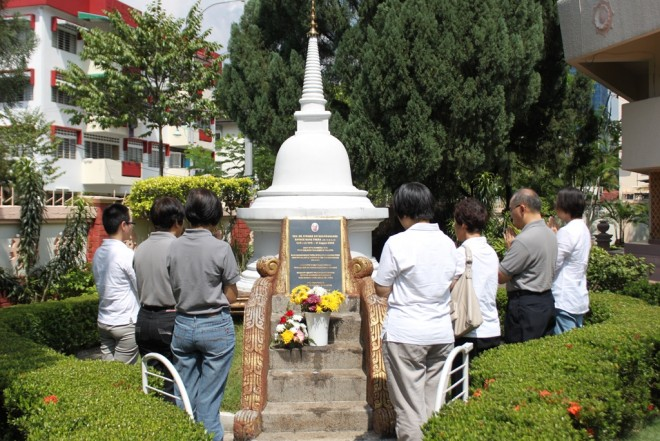 "Nalandians paying respects on ""Patron's Day"" in 2013 at the memorial stupa for our late Spiritual Adviser."