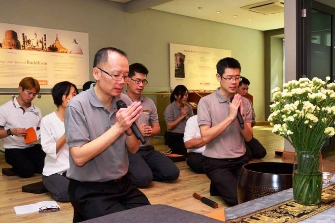 Chanting at NEO Centre Happy Garden after the alms-round.