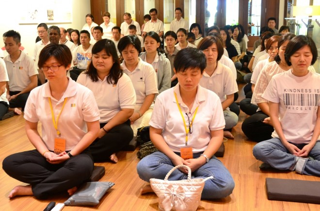 Sunday Service usually begins with meditation.