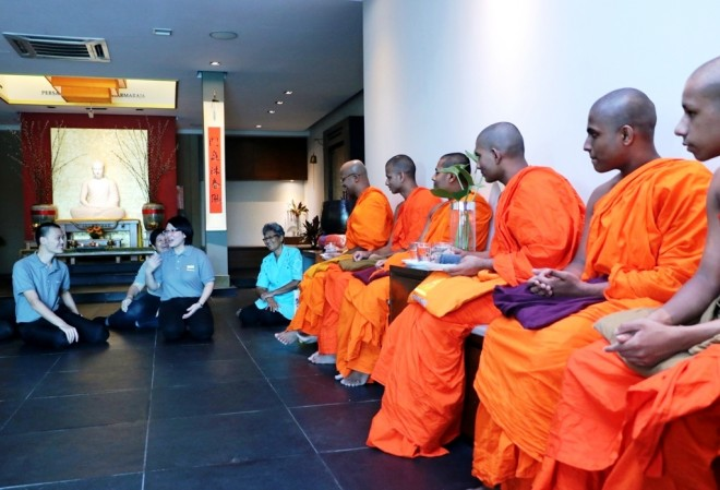 Nalandian officers warmly welcomed the visiting monks.