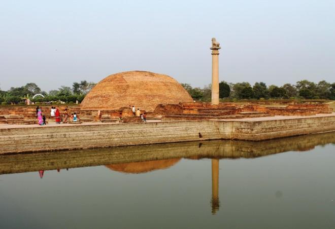 The Relic Stupa and Asokan Pillar in Vesali.