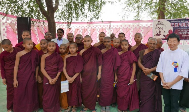 With teachers and local novice monks studying nearby.
