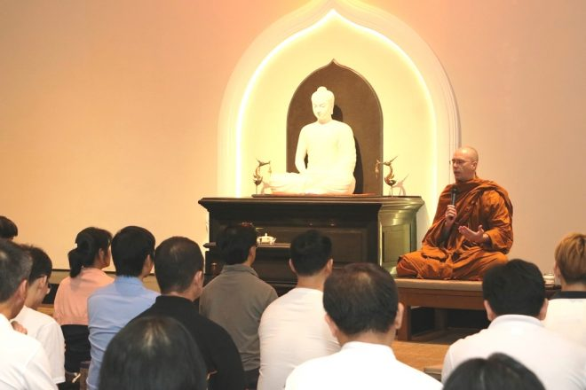 Ajahn Buddharakkhita giving a talk on recognising and connecting with suffering.