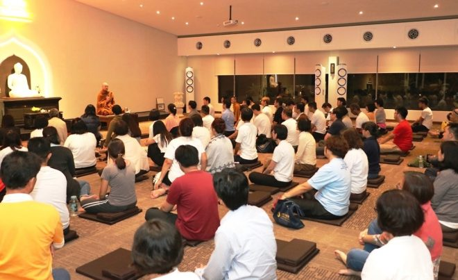 Ajahn Buddharakkhita giving a Dhamma talk after the weekly meditation session.