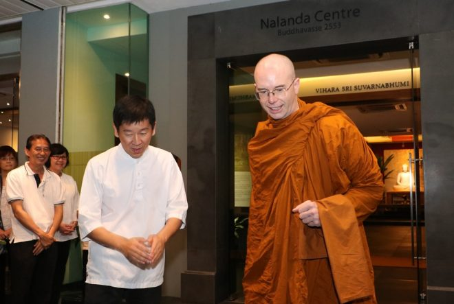 Bro. Tan and Nalanda officers sending Ajahn off after his visit.