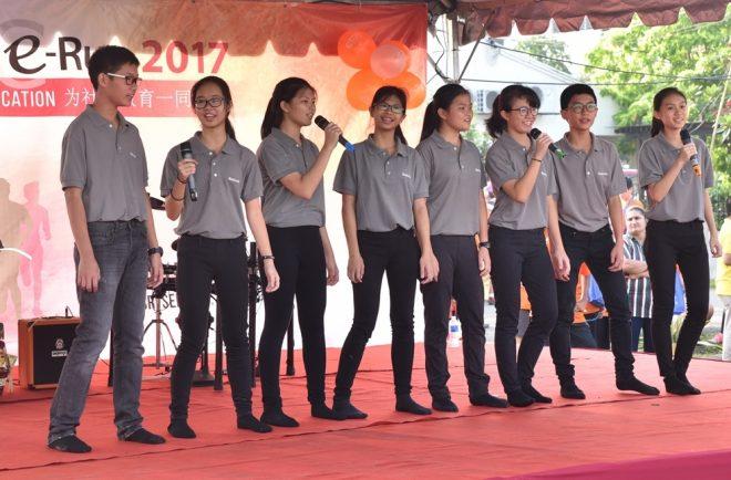 Nalanda Dhamma School students entertaining the crowd.
