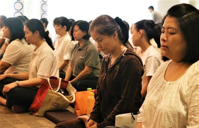 Meditation is a vital part of the programme on 'Dhamma-Sarana Day'.
