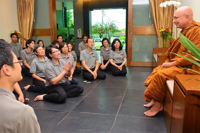 Nalanda members welcoming Ajahn Tiradhammo.
