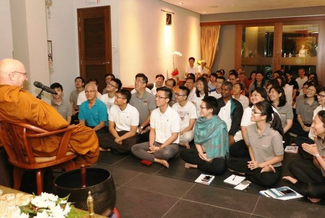 Ajahn Tiradhammo was invited to give an evening Dhamma talk.