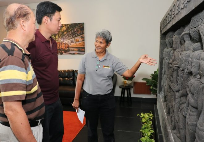 Sis. Paruadi leading a steady stream of visitors today on tours of Nalanda Centre.