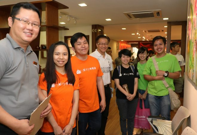 Bro. Wong (in white t-shirt) with members of the Bodhi KL musical group.