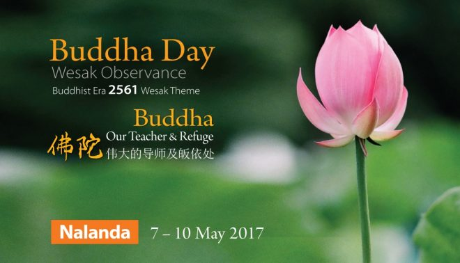 'Buddha Day' is celebrated over 4 days at Nalanda Centre, from 7 to 10 May 2017.