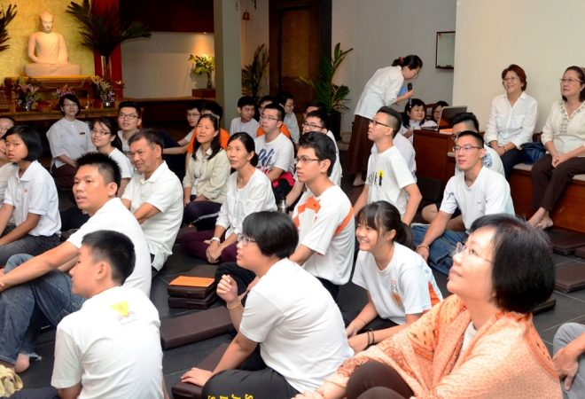 The congregation listening to the Dhamma talk.