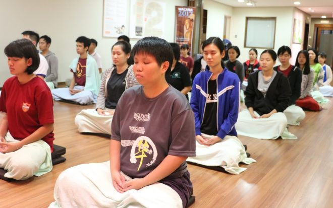 Lectures and discussions were interspersed with meditation sessions.