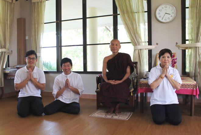 Paying a courtesy call at Venerable Sayadaw Dhammasara.