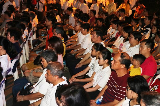 The crowd of hundreds meditating silently on Wesak evening was an inspiring sight.