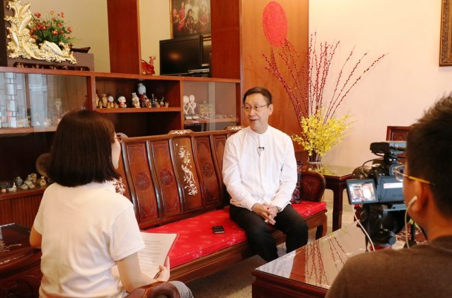 Nalanda Institute officers recording an interview with Datuk Charlie Chia.