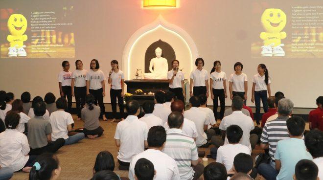 Nalanda Dhamma School students presenting a hymn.