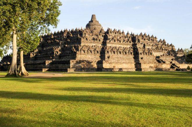 The iconic Candi Borobudur stands majestically.