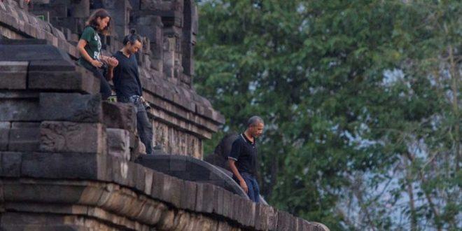 Former US President Obama touring Borobudur in June 2017.